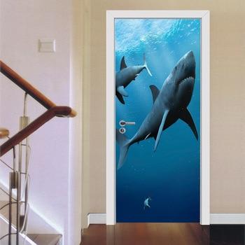 Blue Deep Sea Shark Poster PVC Waterproof Entire Door Sticker Creative Stickers Door Wall Sticker DIY Mural Bedroom Home Decor