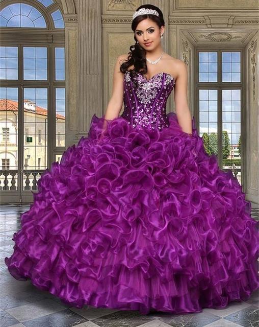2017 nuevo oro rojo púrpura barato quinceañera vestidos de bola del organza cristales sweet 16 vestidos vestidos de 15 anos
