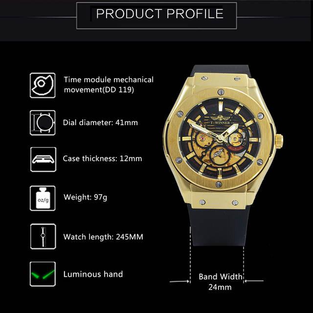 2ae677fa64a placeholder Relógios Homens VENCEDOR 3 Dial Ouro de Metal Série Top de Luxo  Da Marca Relógio Automático