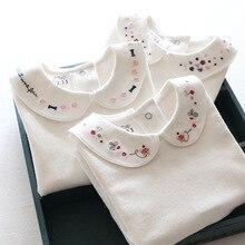 2016 Coton Filles t-shirts Manches Longues Blanc t-shirt pour Fille Tournent Vers Le Bas En Bas Âge Fille Chemises Bonne Qualité Enfants t Chemises