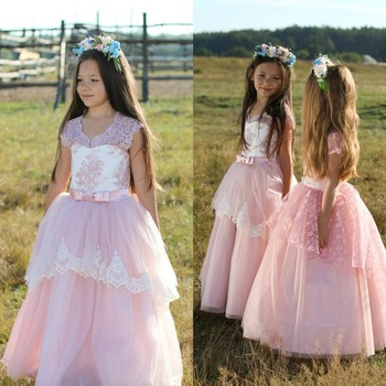 Lovely Pink Flower Girl Dresses 2019 Lace Ball Gown Girls Pageant Dresses Floor Length Princess Communion Gowns Birthday Dress