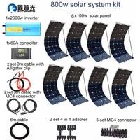 XINPUGUANG 800 Вт фотоэлектрической системы 100 Вт гибкие солнечные панели 2000 Вт инвертор 60A контроллер кабель Разъем 12 В батареи RV лодка