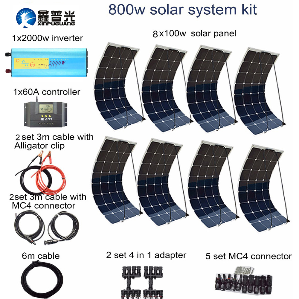 XINPUGUANG 800w Photovoltaic system 100w flexible solar panel 2000w inverter 60A controller cable connector 12v battery RV boat стоимость
