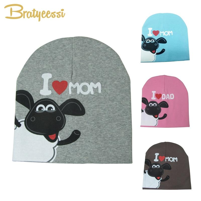 Cute Sheep Baby Cap Mom Dad Cotton Kids Beanie Elastic Candy Color Cartoon Print Baby Beanie Hat 1 PC