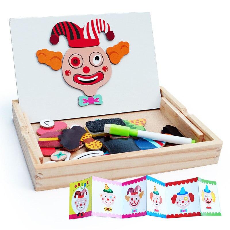 3D Пазлы 12 узор Магнитная клоун лицо доска головоломки Развивающие игрушки для детей веселые магниты рисунок доске для детей