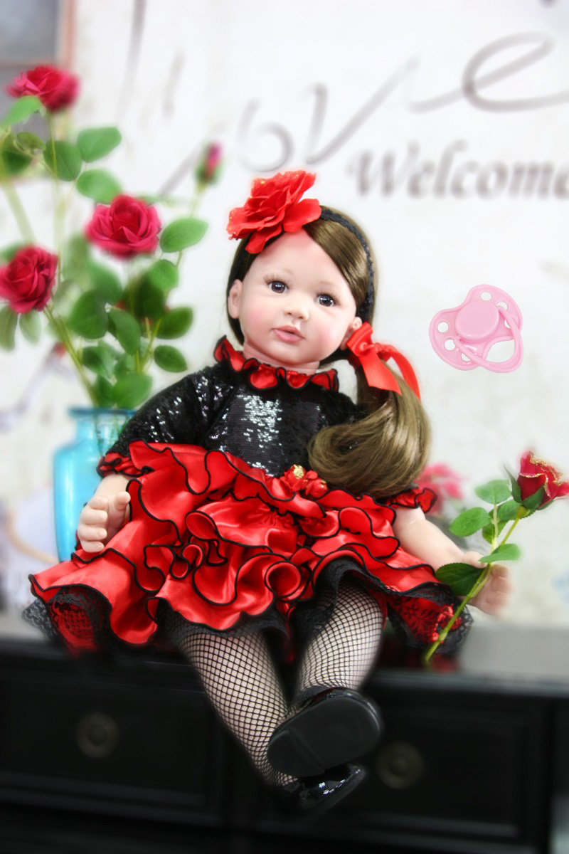 60cm Silicone Reborn Baby Girl Doll Toys For Children 24inch Vinyl Toddler Princess Babies Dolls Lovely Kids Birthday Gift Play collectible washable full body vinyl silicone reborn toddler princess girl baby alive doll toys for children birthday gift dolls