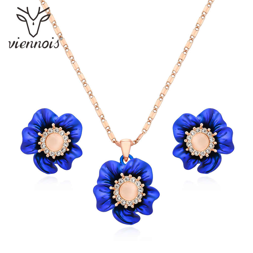 Viennois Rose Gold Color Blue / Red Flower Stud Earrings Necklace Set For Women Geometric Party Jewelry Set