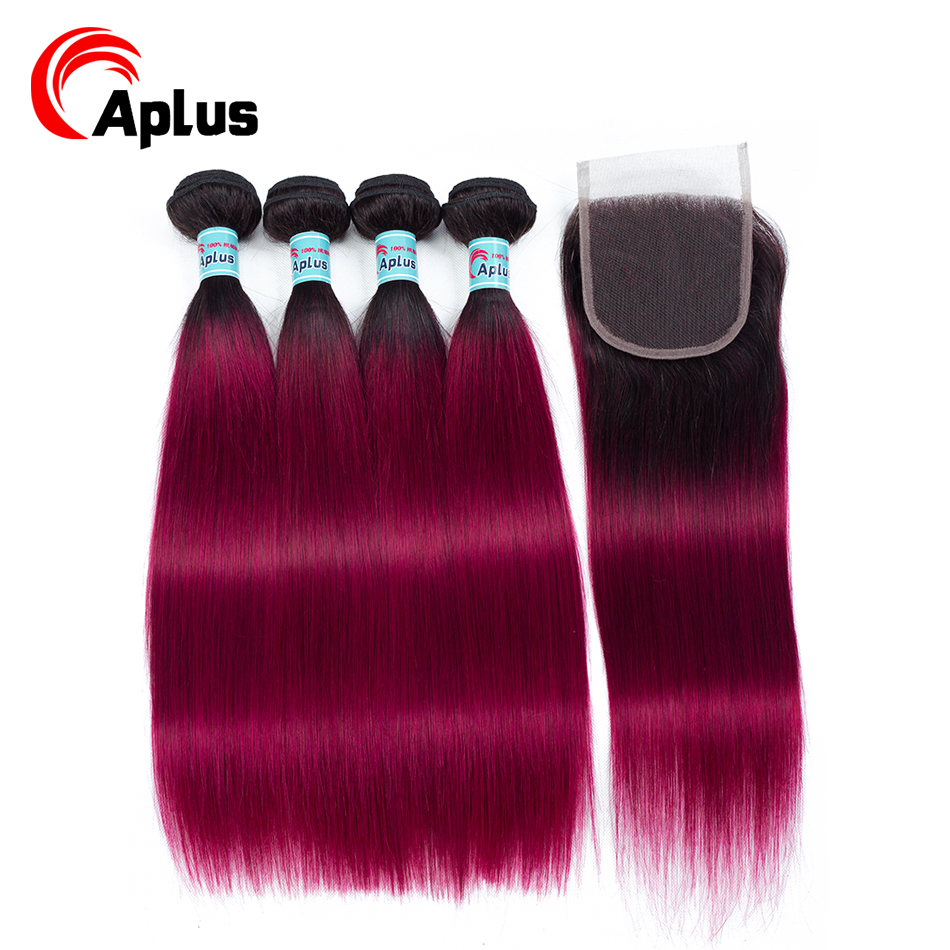 Aplus Colored Bundles With Closure T1b/Burg Ombre Peruvian 4 Hair Bundles With Closure Straight Human Hair Burgundy Non Remy