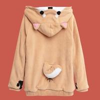 Comics Sweatshirt Plush Dog Hoodie Women Poleron Mujer 2019 Dog Ear Cat Kawaii Winter Hoodie Japanese Letter Harajuku Streetwear