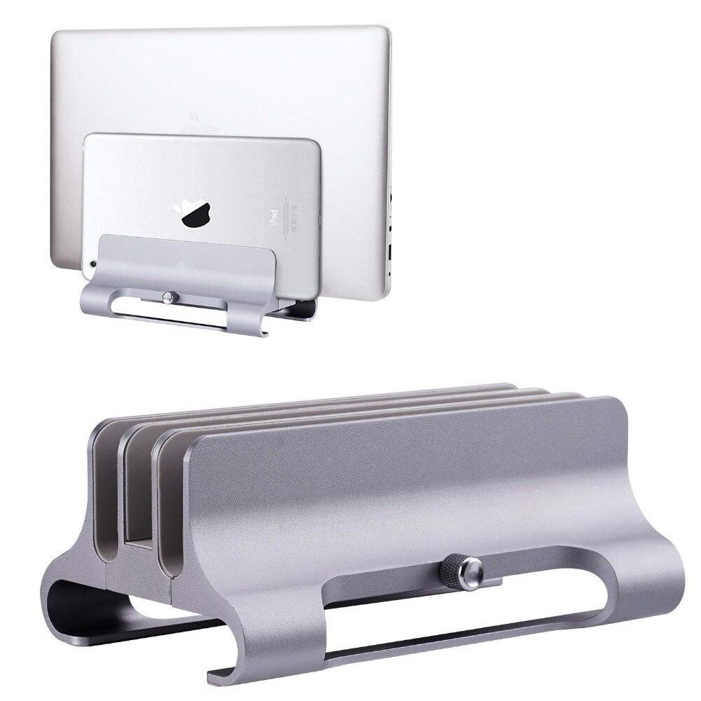 Support d'ordinateur portable Vertical, support de bureau Triple fente 12mm-32mm costume de Dock réglable pour Surface MacBook Air Pro Samsung