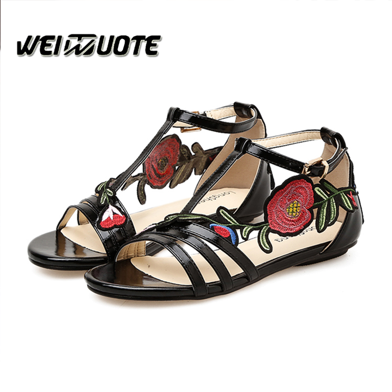 Open Mouth sandals Flat sandals summer shoes woman flat shoes Chinese style Floral flat sandals for ladies Female sandalias цена и фото