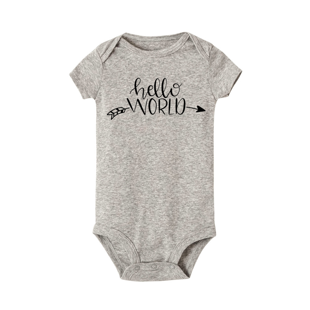 Hello World Letter Print Newborn Baby Clothes Cotton Short Sleeve Baby Rompers Soft Infant Clothing Toddler Baby Jumpsuits 0-24M