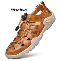 Misalwa Plus Size 38 47 Classic Men Sandals Genuine Leather Closed Toe Outdoor Summer Causal Fisherman Shoes Cool Beach Footwear