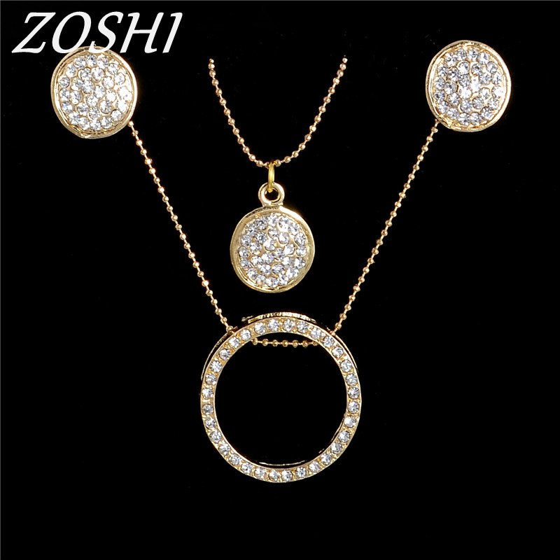 Fashion Clear Austria Crystal Jewelry Sets For Women Drop Earrings and Gold Multilayer Chain Necklace WholesaleWedding Jewelry