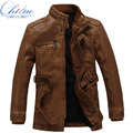 2016 new leather jacket men's wool coat long fur collar coat men's PU leather jacket Slim warm casual windbreaker jacket M-3XL