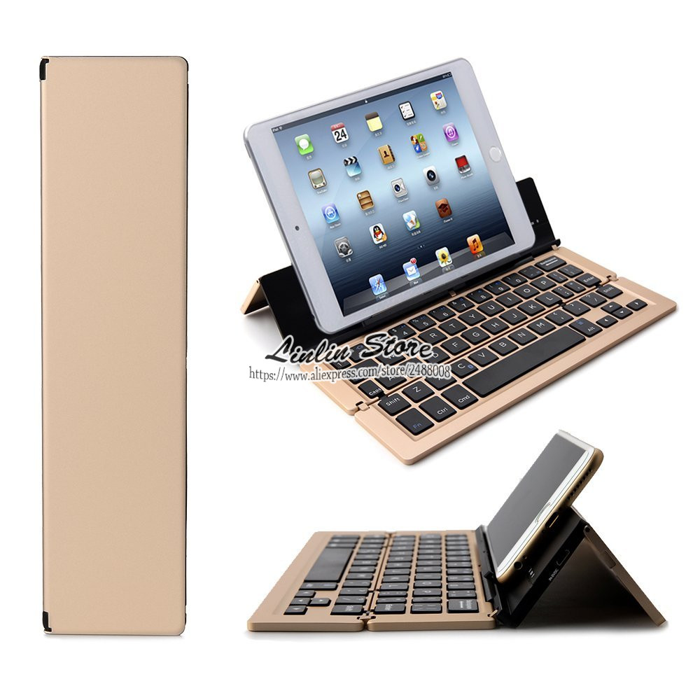 Foldable Bluetooth Keyboard Kickstand for iPhone / iPad Pro 2 3 4 / Air 2 / Air Mini 4 3 2 1  Galaxy Tabs Android IOS Windows foldable bluetooth v3 0 keyboard for ipad air black