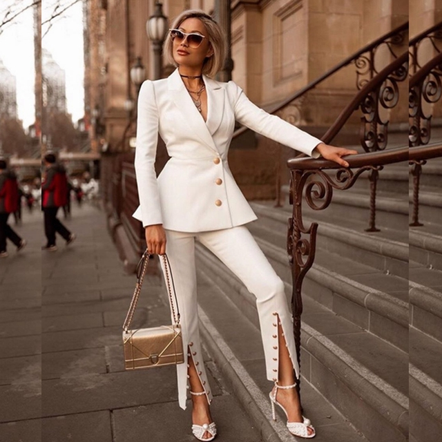 6dd70da7176 New Arrival Celebrity Party Women Coat Pants Two 2 Pieces Suit Fashion 2018  V Neck White Long Sleeve Solic Button Clubwear festa