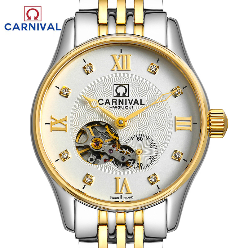 Luxury Carnival skeleton watch men silver stainless steel waterproof Automatic machine wristwatch relogio masculine