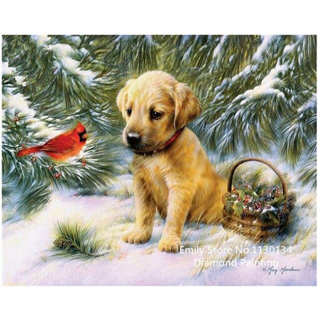 Все Ремесла Алмазный вышивка 5d сделай сам алмаз живопись дрель полный алмазов вышивка зима собака декоративные панно DP642