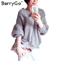 BerryGo Knitted Off Shoulder Pullover Sweater Women Sexy V Neck Long Sleeve Winter Sweater Casual Streetwear