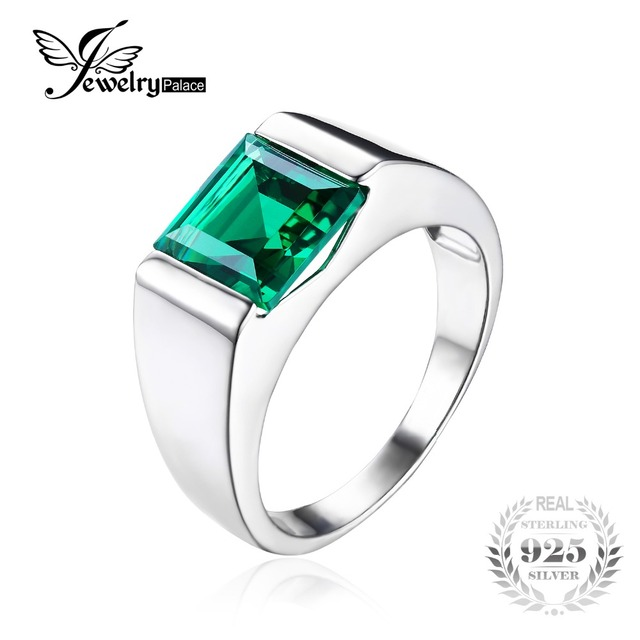 JewelryPalace Nano Russian Green Created Emerald Ring For Men Solid