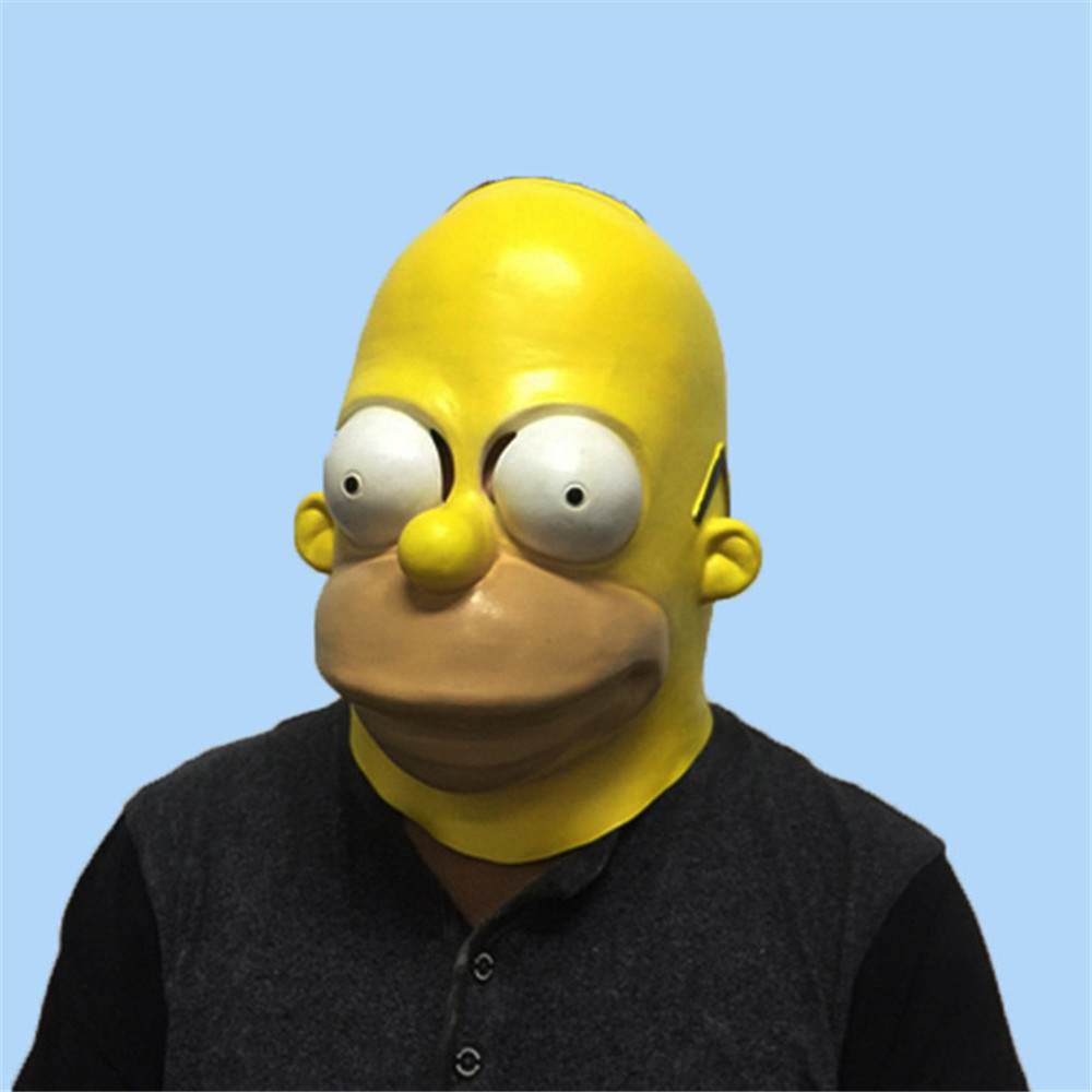 Drôle Simpsons Latex Masque Halloween Masquerade Party Cosplay Masques Adultes Plein Visage Horreur Masque Coiffures Capot Costume Props