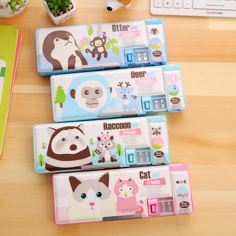 2017 New Arrival Multifunction Stationery Case Korea Fashion Cute Cartooon Pencil Case Kawaii Pencil cases Large Pencil box
