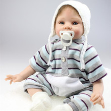55cm Reborn Baby Boy Dolls For Kids Toys House Playmate Big Size 55 cm Realistic Silicone Reborn Baby Boy Dolls For Adoption