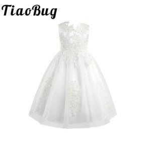 Image 1 - Biały/kość słoniowa bez rękawów długość herbaty pierwsza komunia kwiatowe sukienki dla dziewczynek dla dzieci kwiecista koronka korowód przyjęcie weselne suknia wieczorowa