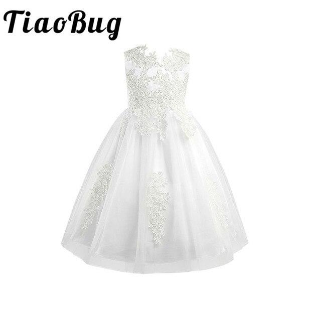 Biały/kość słoniowa bez rękawów długość herbaty pierwsza komunia kwiatowe sukienki dla dziewczynek dla dzieci kwiecista koronka korowód przyjęcie weselne suknia wieczorowa