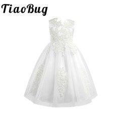 Branco/marfim primeira comunhão vestidos meninas rendas solúvel em água infantil criança pageant vestidos da menina de flor para casamentos e festa