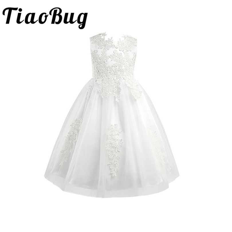 White/Ivory First Communion Dresses Girls Water-soluble Lace Infant Toddler Pageant Flower Girl Dresses for Weddings and Party 2017 girls dresses in black and white stripes 100