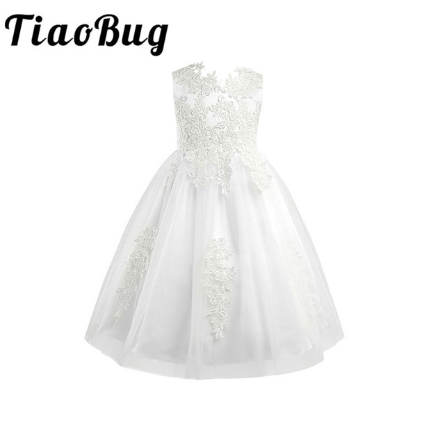 White/Ivory Sleeveless Tea Length First Communion Flower Girl Dresses for Kids Floral Lace Pageant Weddings Party Prom Gown