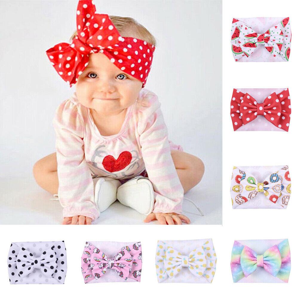 2 Stylish Newborn Toddler Baby Girls Kids Dot Flower Bow Knot Hairband Headband Stretch Turban Head Wrap Accessories Print