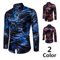 [Europese Size] mode voor mannen rode en blauwe vlam digitale gedrukt lange mouwen
