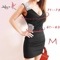 Allegra K Lady Deep V Neck Crossover V Neck Fake Pearl Decor Sheath Dress