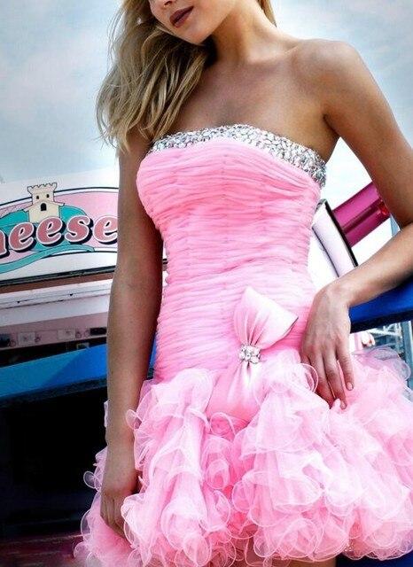 Dressgirl Pink Cocktail Dresses 2017 Sheath Strapless Pink Organza Beaded Ruffles Bow Short Mini Homecoming Dresses