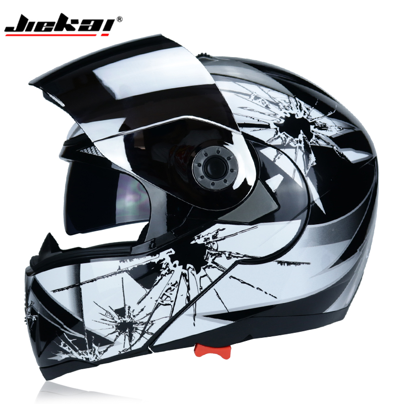 JIEKAI New Arrival Safety Flip Full Face Motorcycle Helmet With Internal Sun Visor Everyone Affordable Dual Lens MOTO Helmet