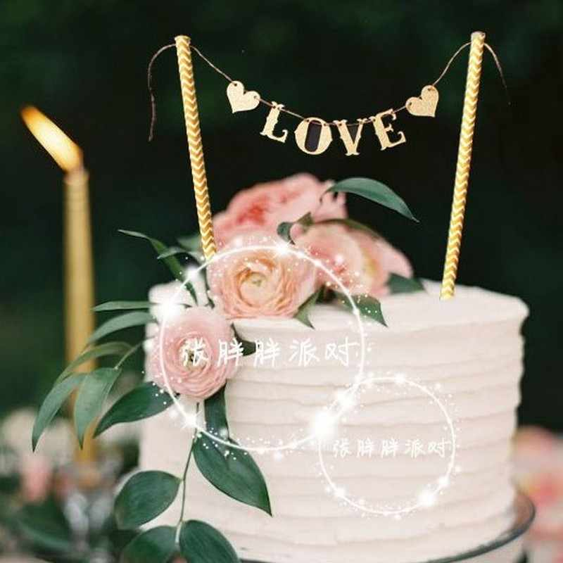 1 Set Love Heart Flag Wedding Cake Topper Set for Wedding Party Banner Double Stick Decoration Cake Decor Supplies