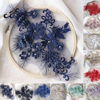 10pieces black lace applique, heavy bead lace applique, 3D lace applique with rhinestones, 3d floral, 3d flower applique фото