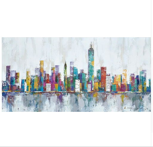 New York City Skyline Canvas Wall Art Large Art New York: 2016 New York Skyline Cityscape Architecture Abstract Wall
