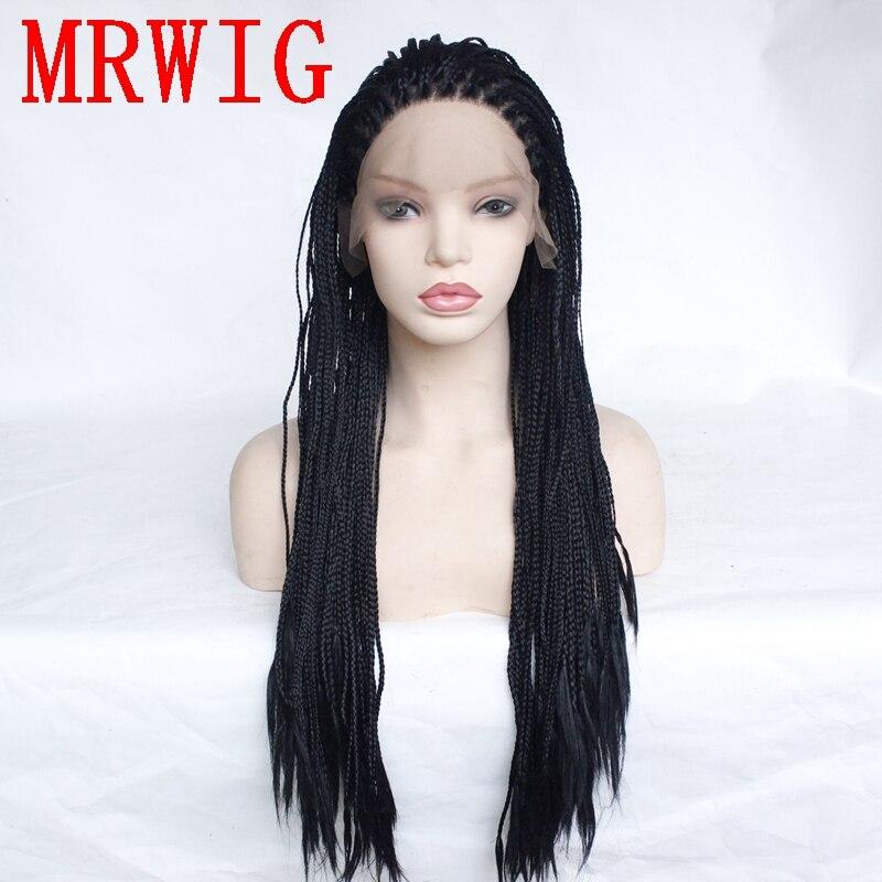 MRWIG longue boîte tressée tresses perruque noir/marron/blond partie libre synthétique avant dentelle perruque pour femme