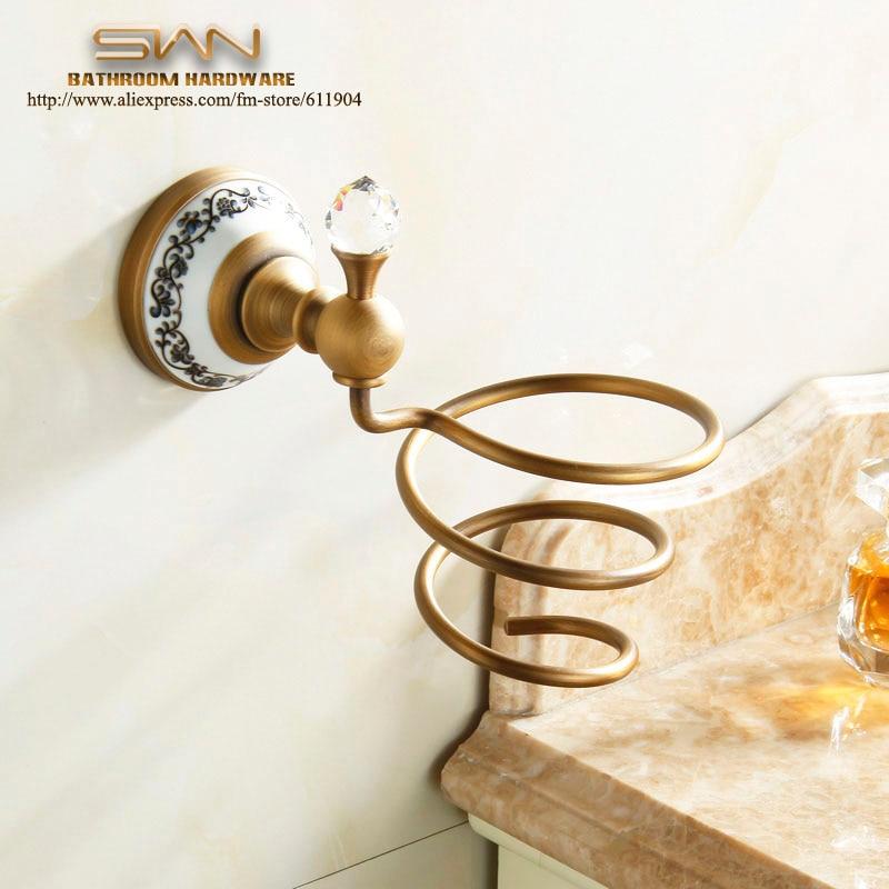 Free Shipping Crystal Brass Bathroom Hair Drier Holder Antique Brass Hairdrier Frame Pattern Ceramic Base bathroom Accessaries
