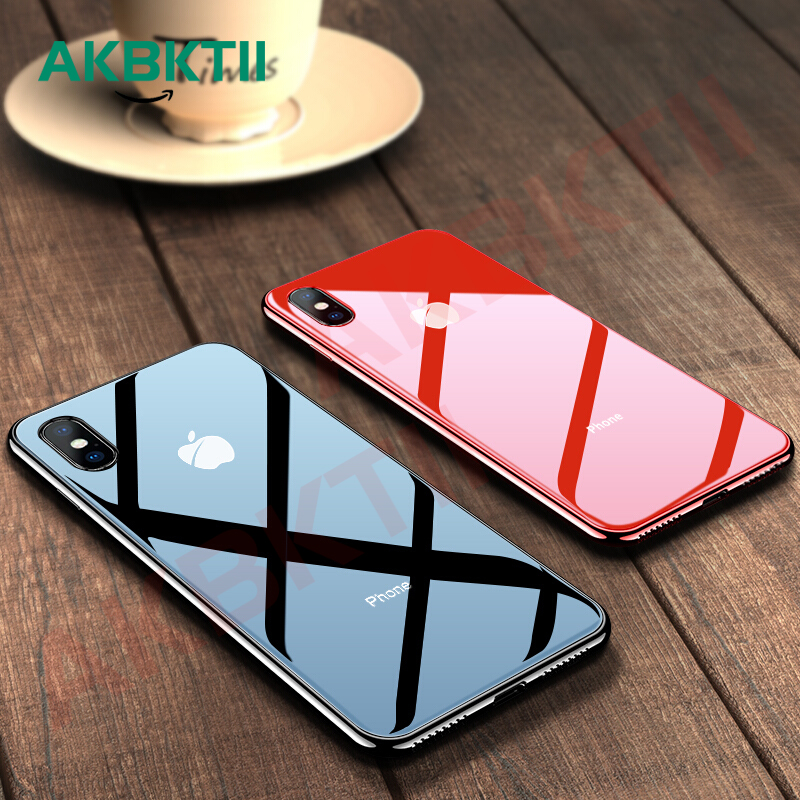 AKBKTII luxury Plating Edge glass Case for iPhone 7 case for iPhone xr Case 6 8 plus Back Tempered Glass for iPhone XS MAX Cover(China)