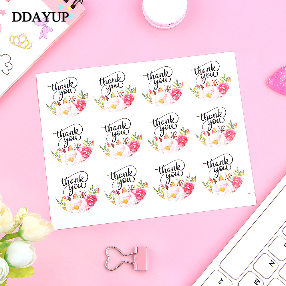 120Pcs Flower Round Thank You Handmade Cake Packaging Sealing Label Kraft <font><b>Sticker</b></font> Baking DIY Gift <font><b>Stickers</b></font> image