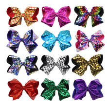 8inch 20CM Mermaid Leather Bow With Hair Clip For Girls Kids Pineapple Hair Grips USA(China)
