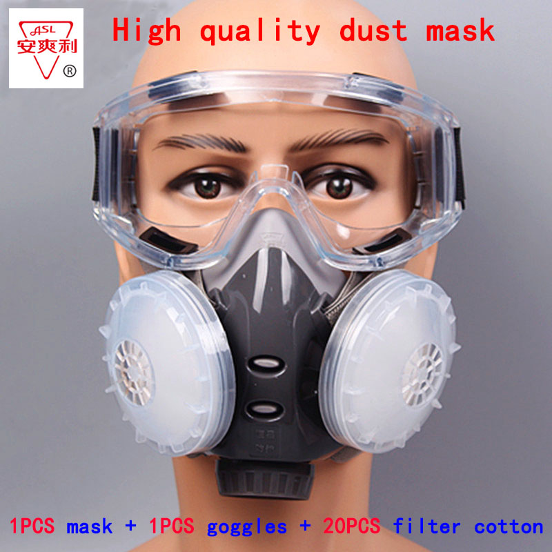 respirator dust mask Windproof Goggles + dust mask + 20 filter cotton KN95 anti pollution anti-dust respirator 8010 type black cotton yarn mouth face mask windproof anti dust cycling muffle respirator mask anti dust wearing respirator