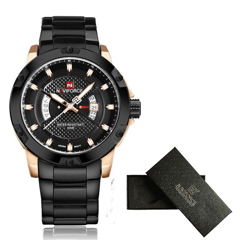Mens Watches Top Luxury Brand NAVIFORCE Men Full Steel Watches Quartz Watch Analog Waterproof Sports Army Military WristWatch 5