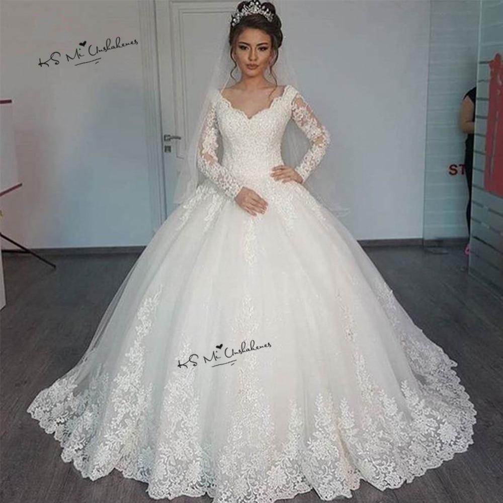 Elegant Long Sleeve Lace Wedding Dresses 2019 Vestido De Noiva Manga Longa V Neck Princess Bride Dress China Wedding Gowns