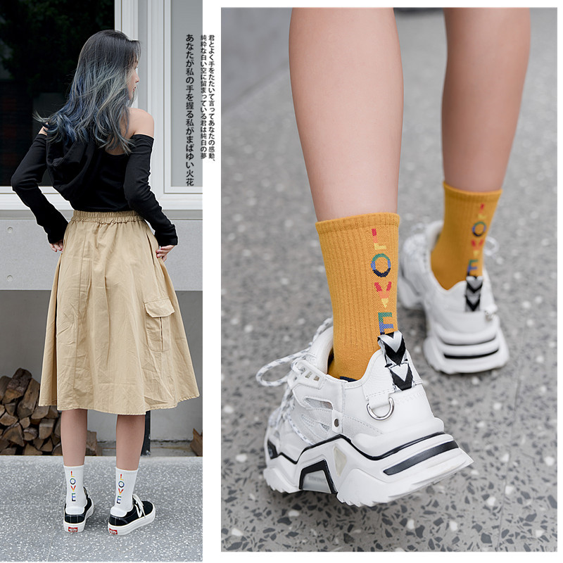 1 Pair Women Socks 2019 Autumn New Socks Winter Fashion Color Letters Comfortable Solid Preppy Style Long Casual  Socks Women